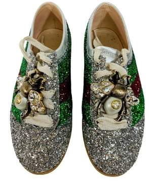 GUCCI Falacer Metallic Glittered Leather Sneakers Shoes