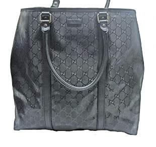 GUCCI Diamante GG Monogram Black Leather Tote Bag