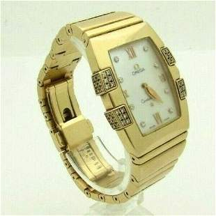 Omega Constellation Quadrella 18k Gold Diamond Watch