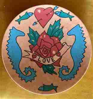 Rare Rosenthal Heart Rose TATTOO Porcelain Wall Plate
