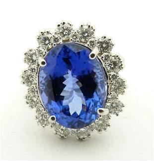 AGL Certified 7.15ct Tanzanite 1.22ct Diamond Ring