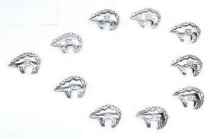 Native American Navajo Sterling Silver Bear Belt Buckle