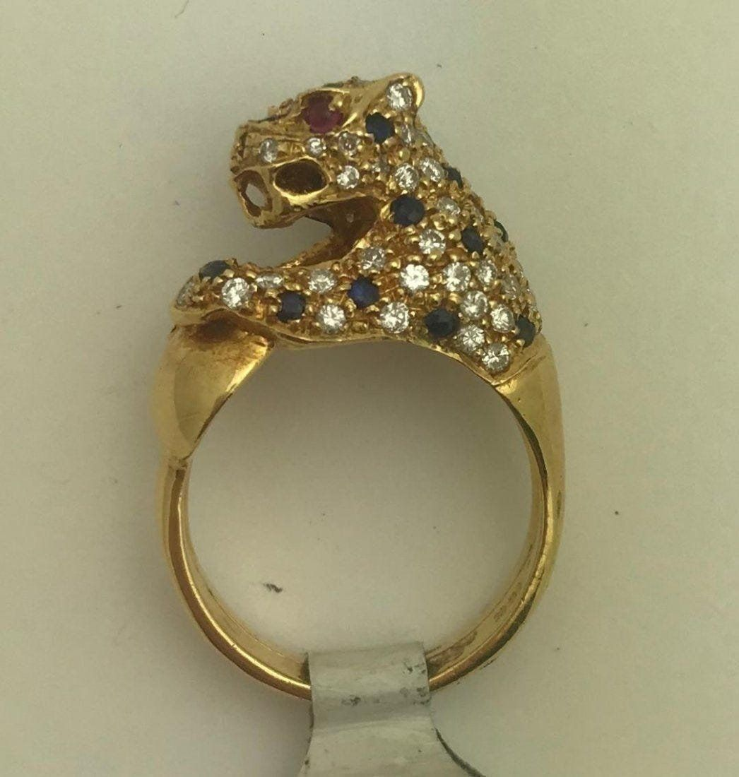 18K Gold Diamond & Sapphire Panther Ring