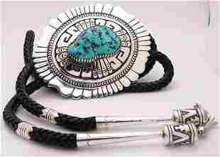 Thomas Singer 925 Sterling Silver Turquoise Navajo Tie