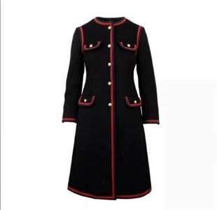 NWT GUCCI Black Wool Single Breasted Web Trim Coat