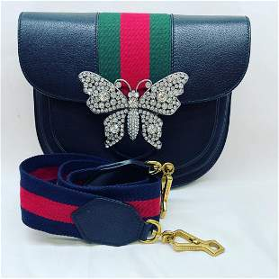 Gucci Shoulder Bag w/ Crystals Butterfly Black Leather