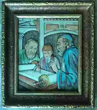 Framed Judaica Engraving Artini Jewish Boy with Rabbi