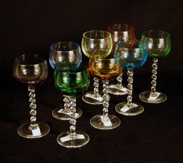 1: Multi-Color Crystal Twist Stem Goblets