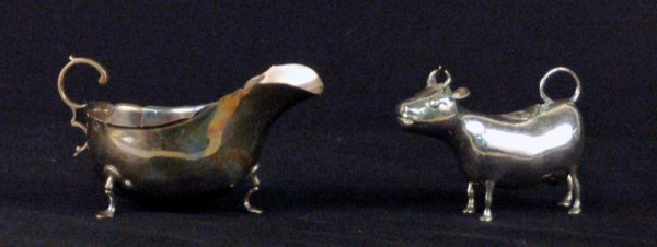 7: Sterling Sauce Boat and Silver Cow