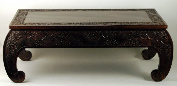 57: Chinese Carved Coffee Table Dogwood