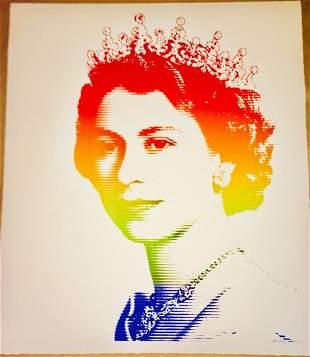 Queen Elizabeth Rainbow Lines Art Print Mr Clever Art