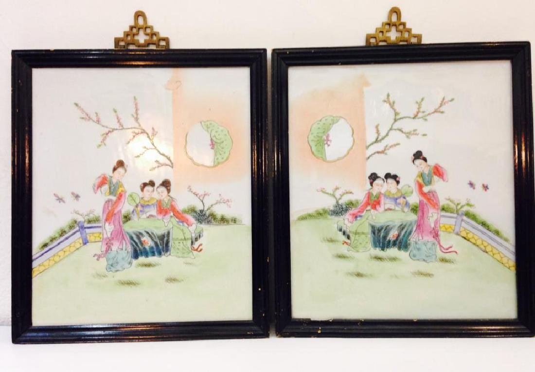 Pair of Family Rose Japanese Plaque 19th Century