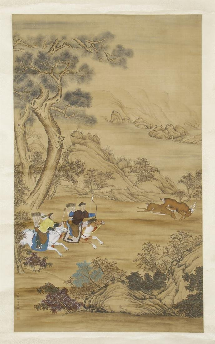 An Anonymous Chinese Silk Scroll Painting of Flowers