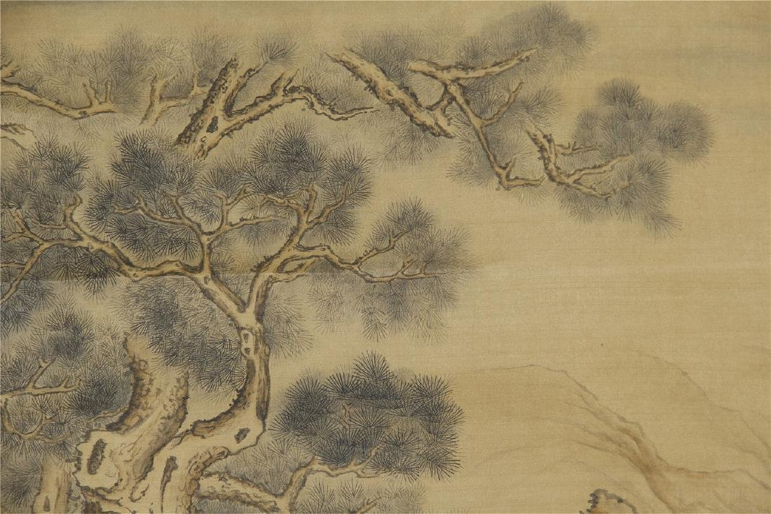 An Anonymous Chinese Silk Scroll Painting of Flowers - 2