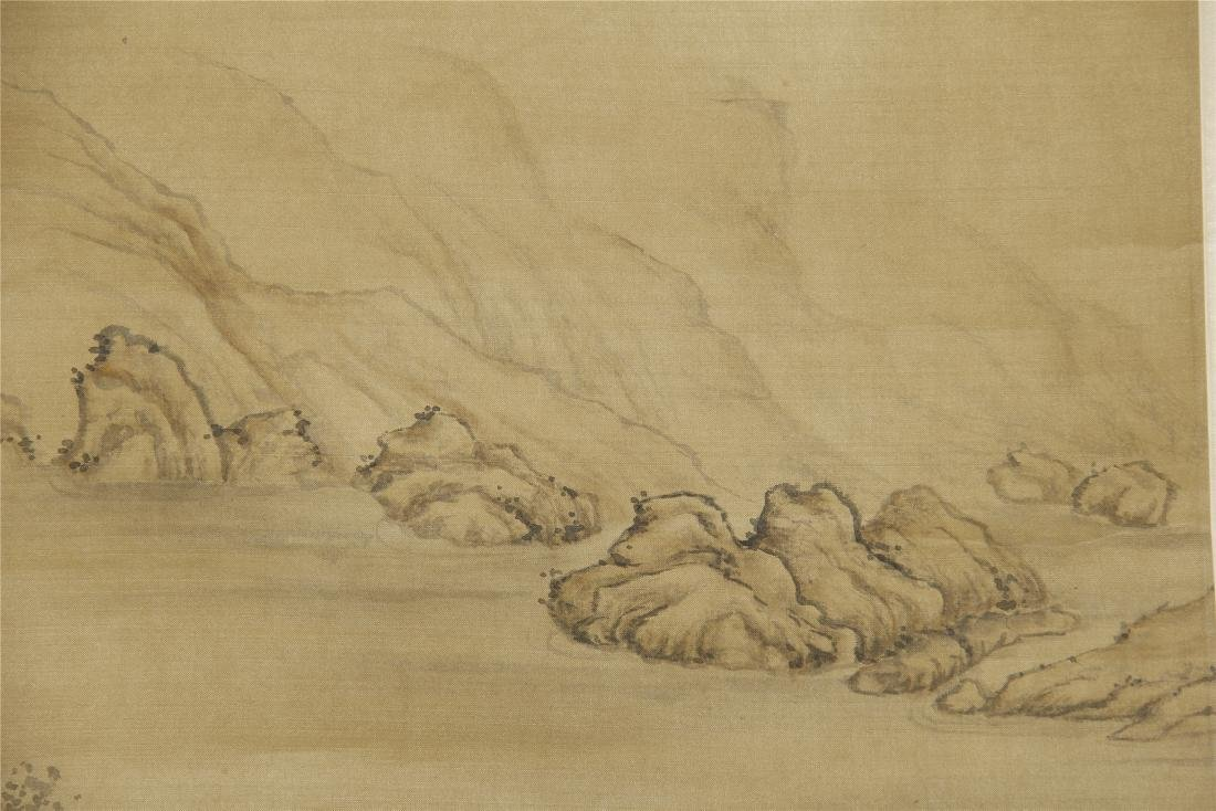 An Anonymous Chinese Silk Scroll Painting of Flowers - 4