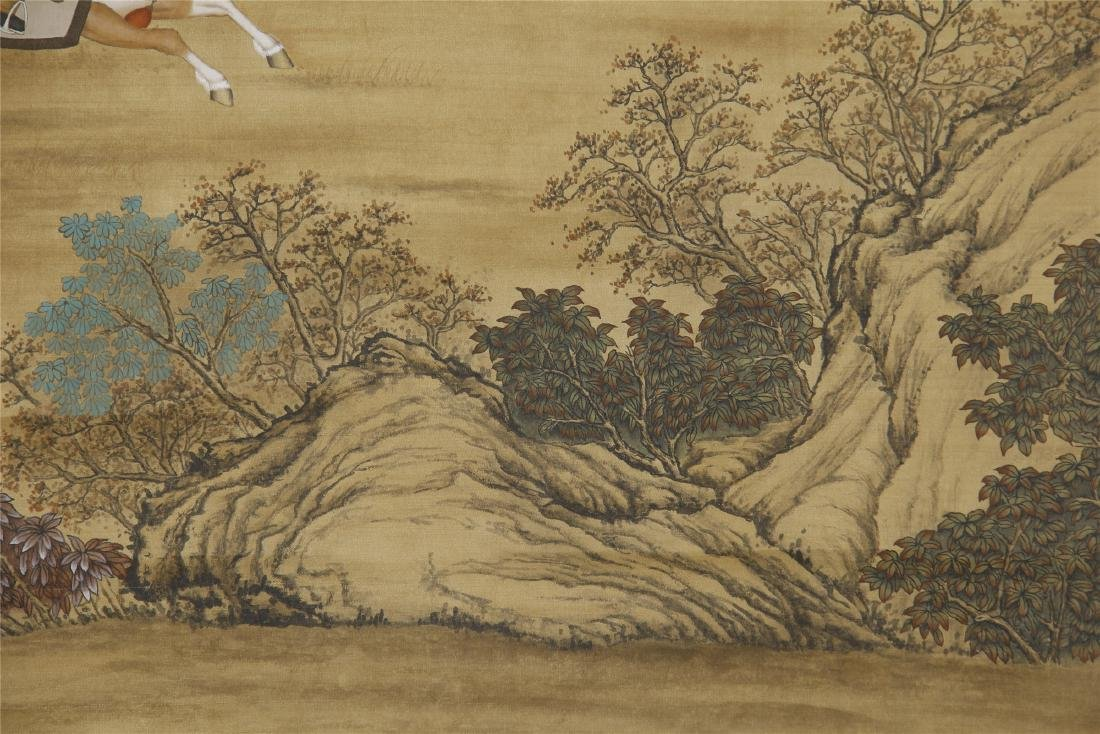 An Anonymous Chinese Silk Scroll Painting of Flowers - 7