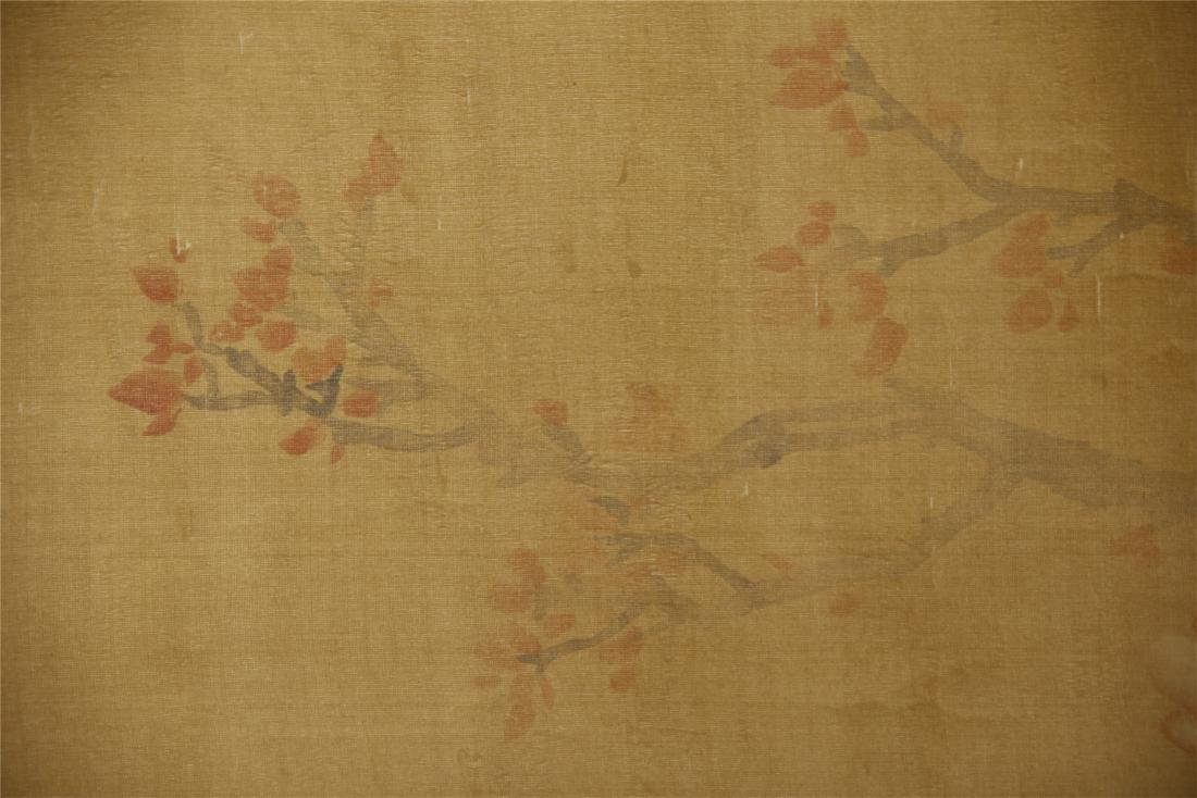 A  Chinese Silk Scroll Painting of Flowers by Yun - 3