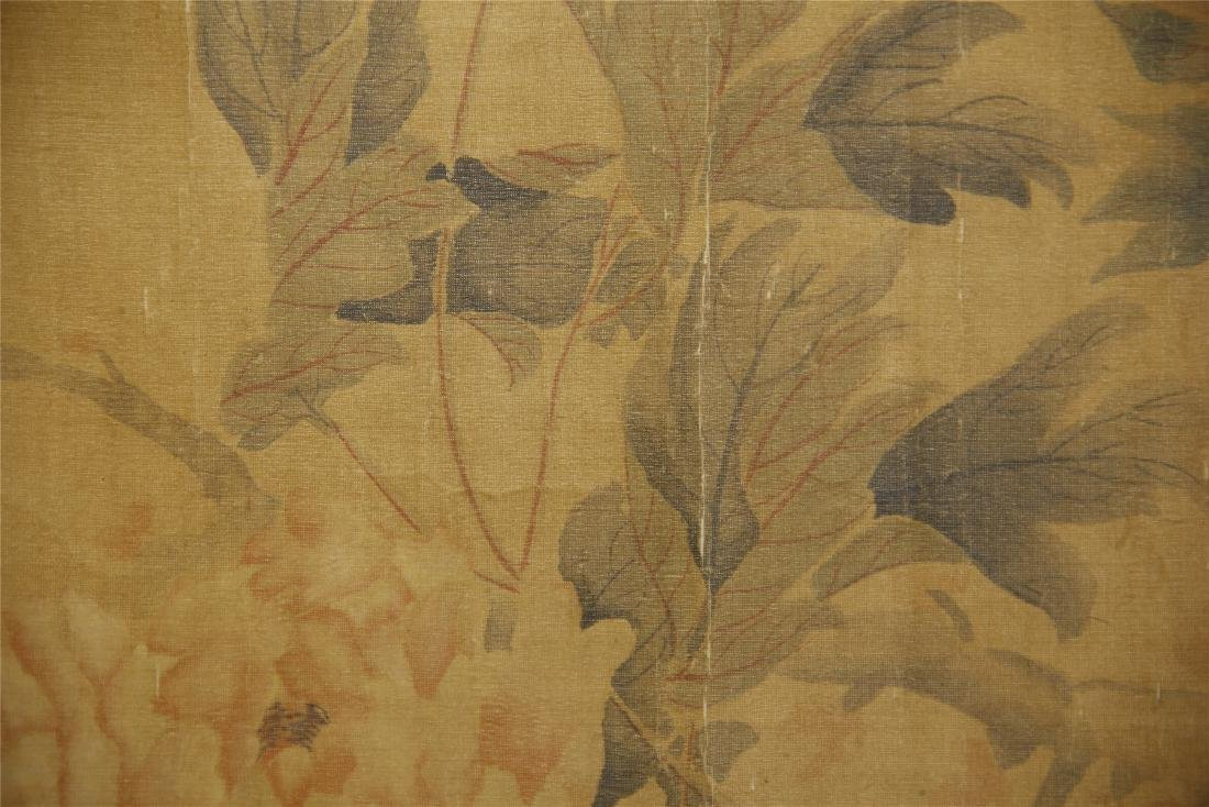 A  Chinese Silk Scroll Painting of Flowers by Yun - 5