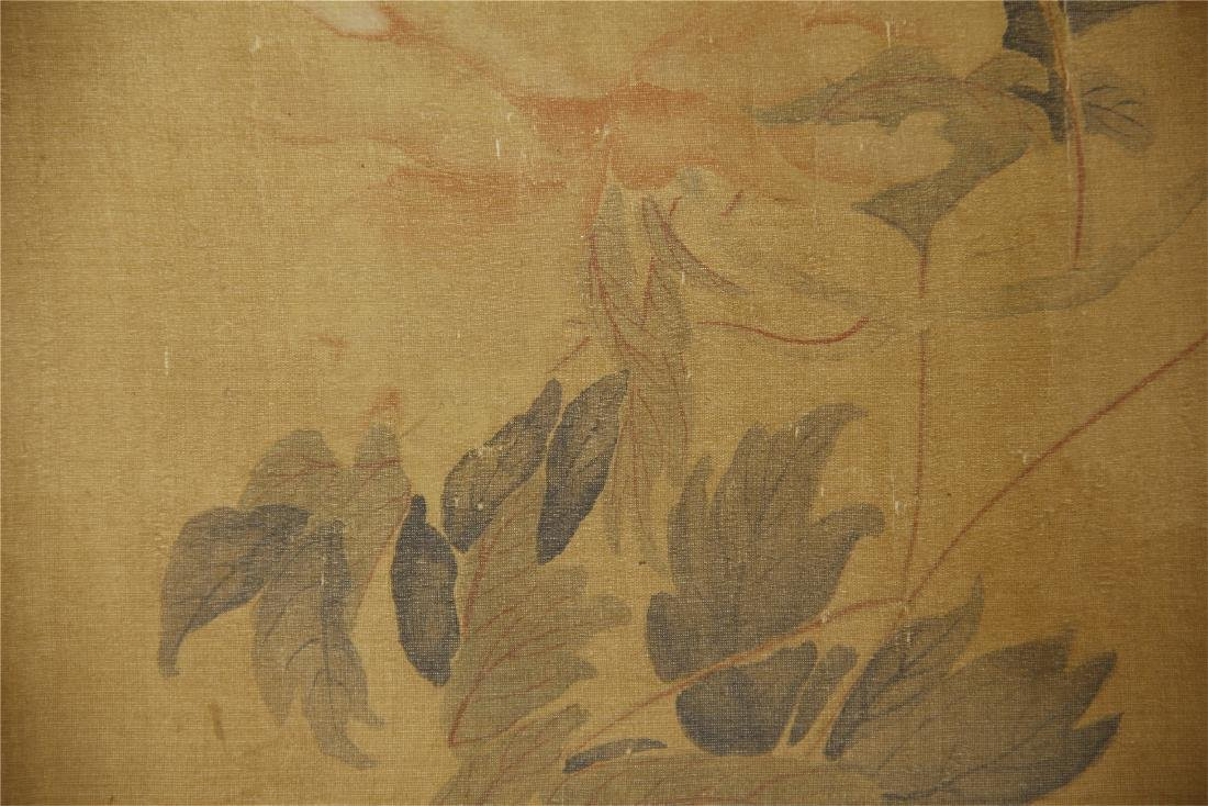 A  Chinese Silk Scroll Painting of Flowers by Yun - 6
