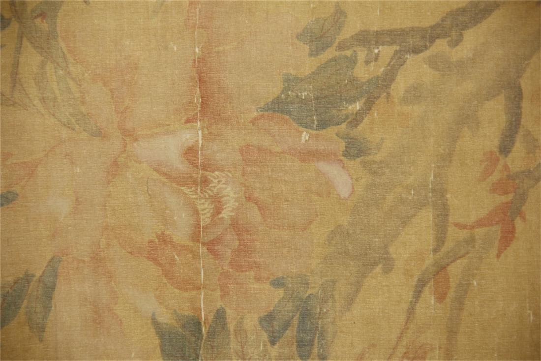 A  Chinese Silk Scroll Painting of Flowers by Yun - 7
