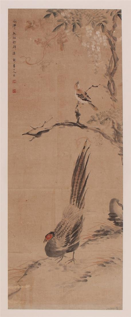 A Chinese Scroll Painting of Flowers and Birds by Hua