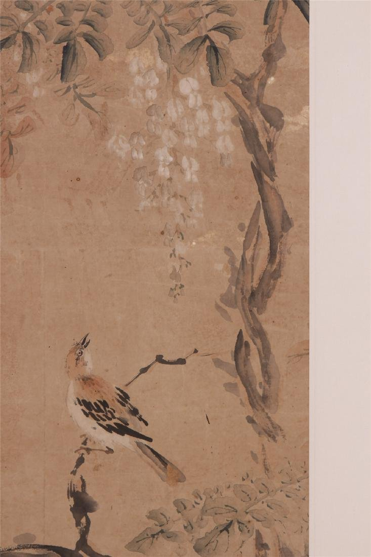 A Chinese Scroll Painting of Flowers and Birds by Hua - 2