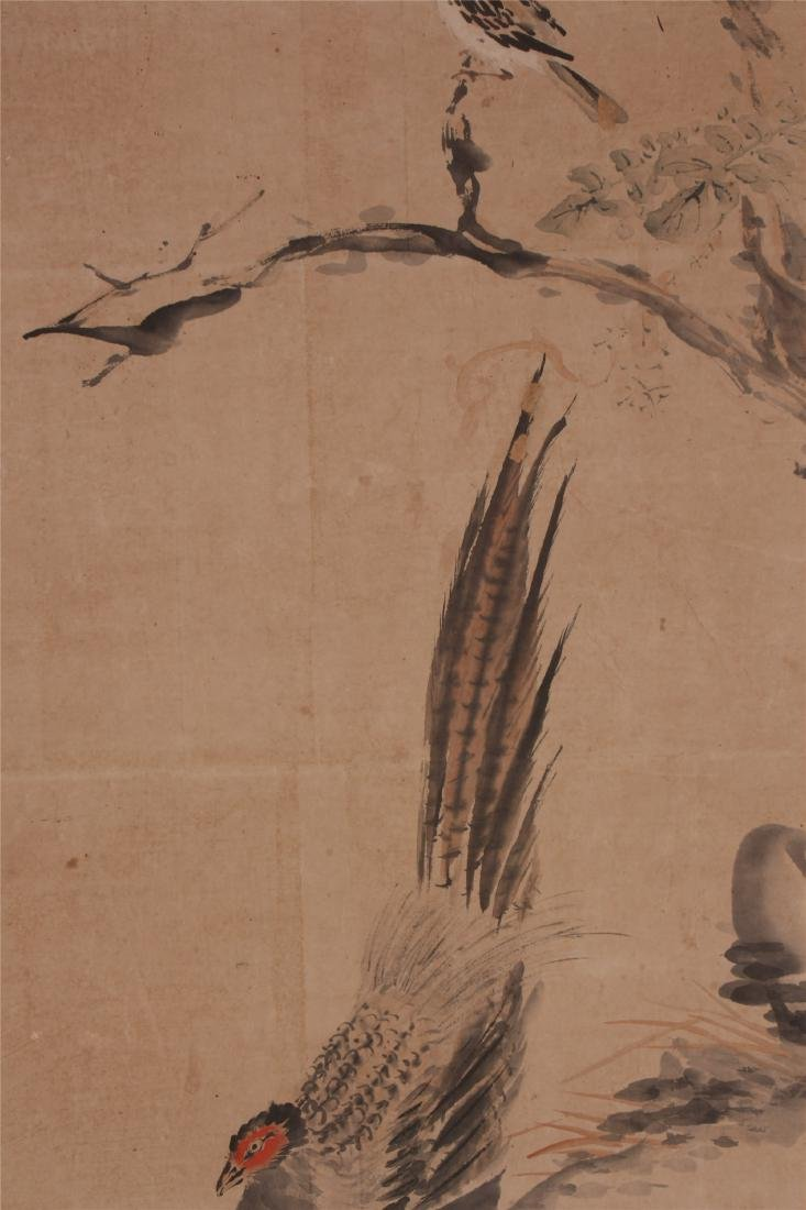 A Chinese Scroll Painting of Flowers and Birds by Hua - 5