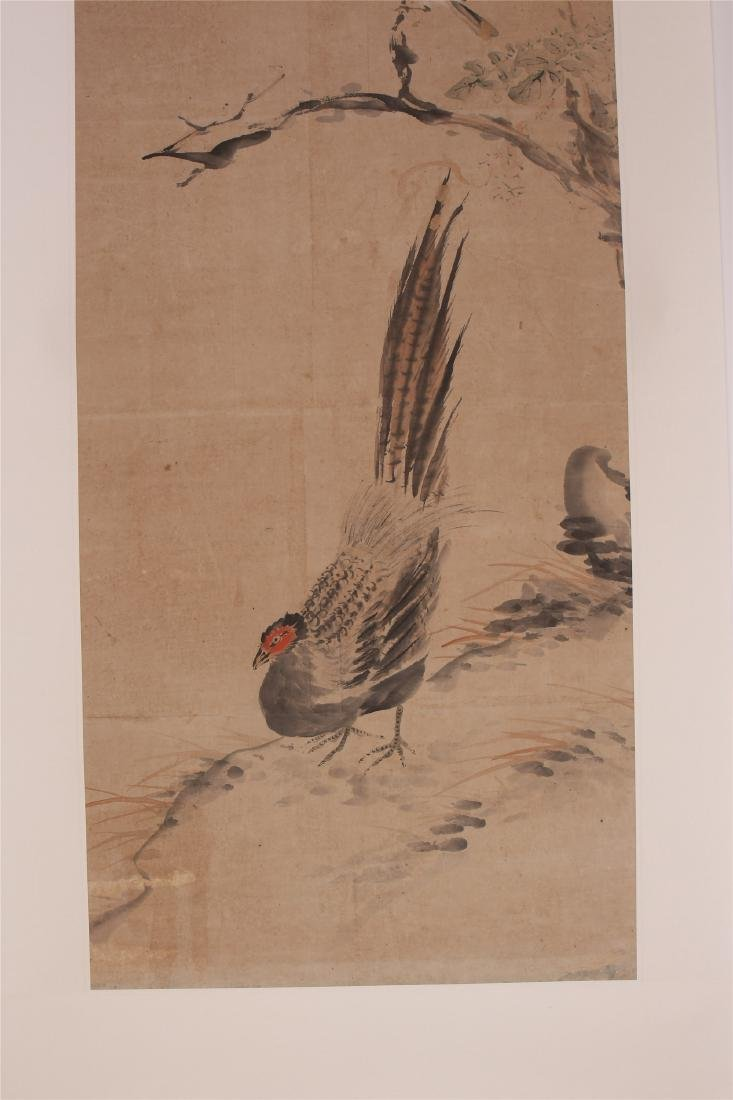 A Chinese Scroll Painting of Flowers and Birds by Hua - 6