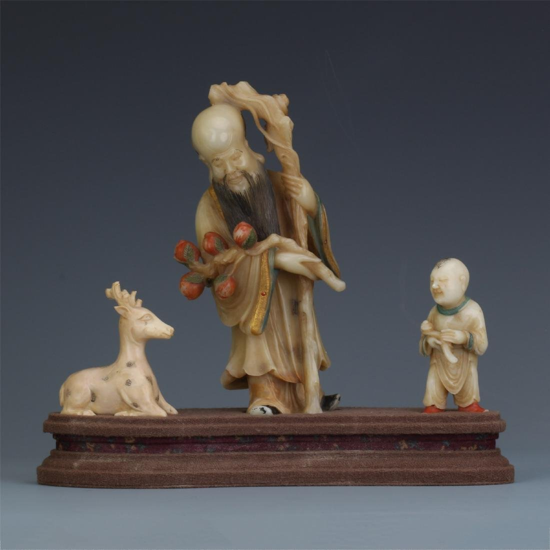 A Chinese  Carved  Soapstone Figure of Immortal