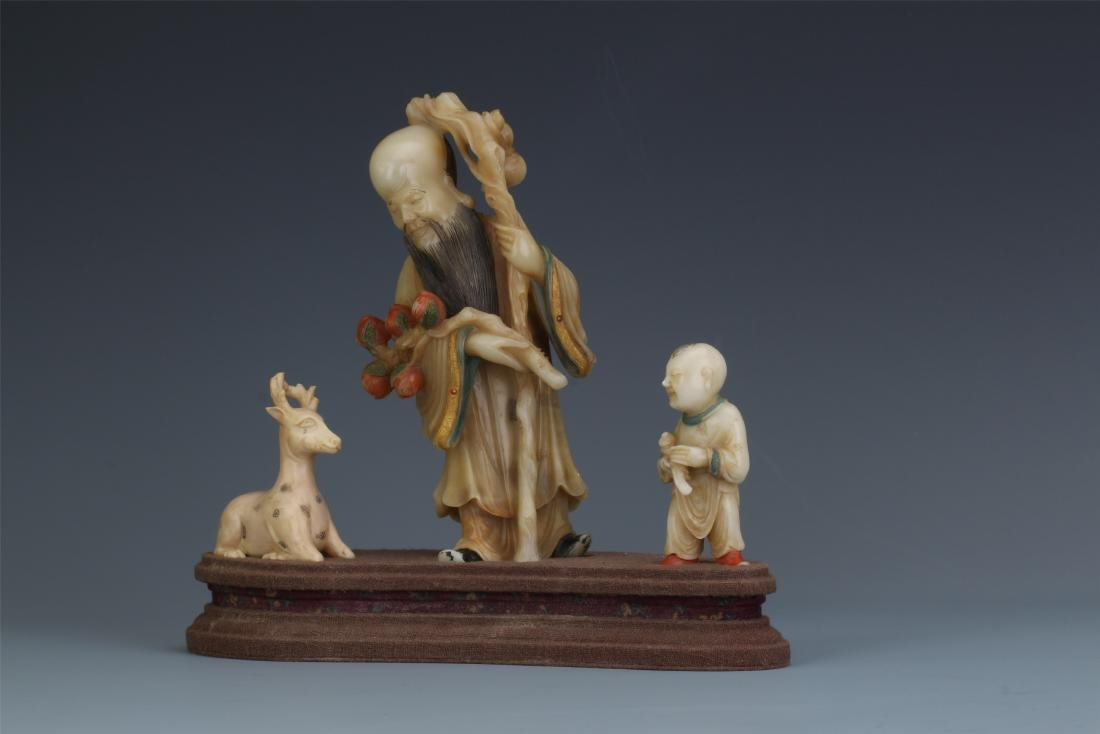 A Chinese  Carved  Soapstone Figure of Immortal - 5
