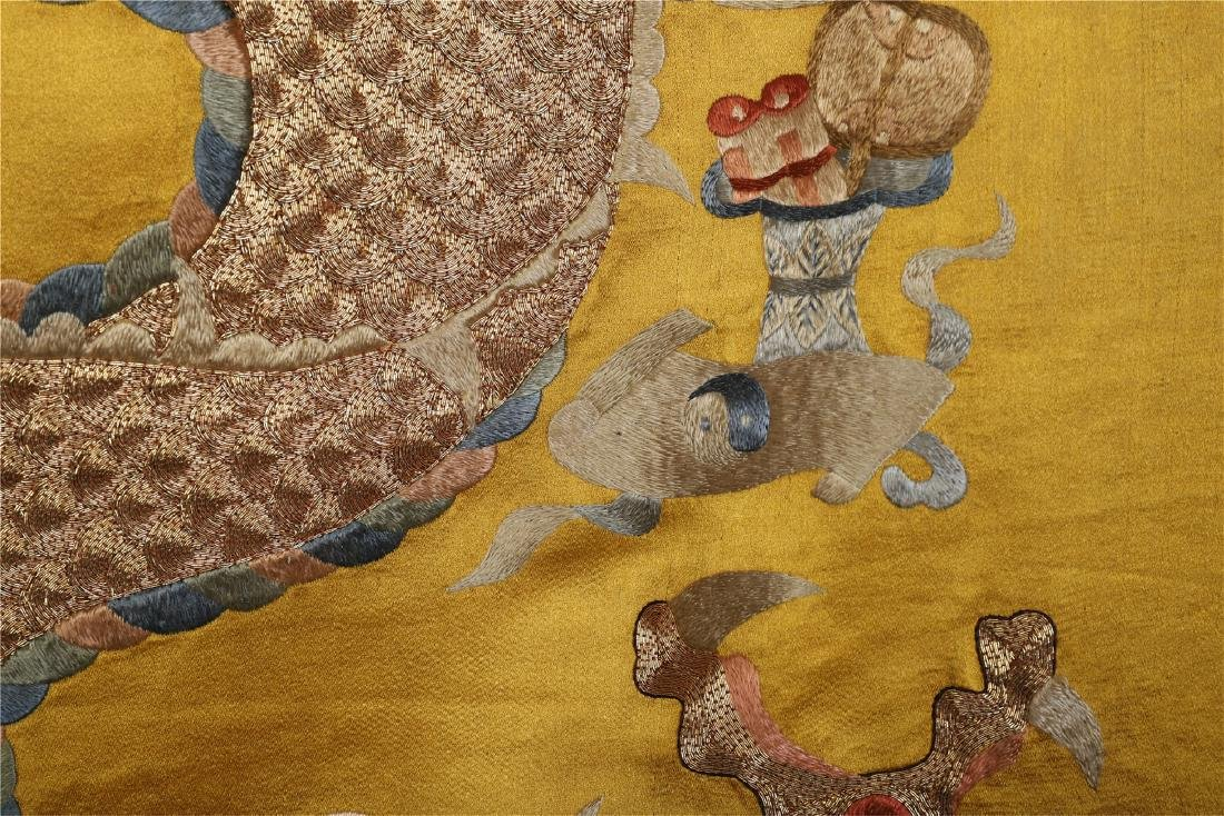 A Chinese Yellow Ground Dragon Silk Embroidery - 10
