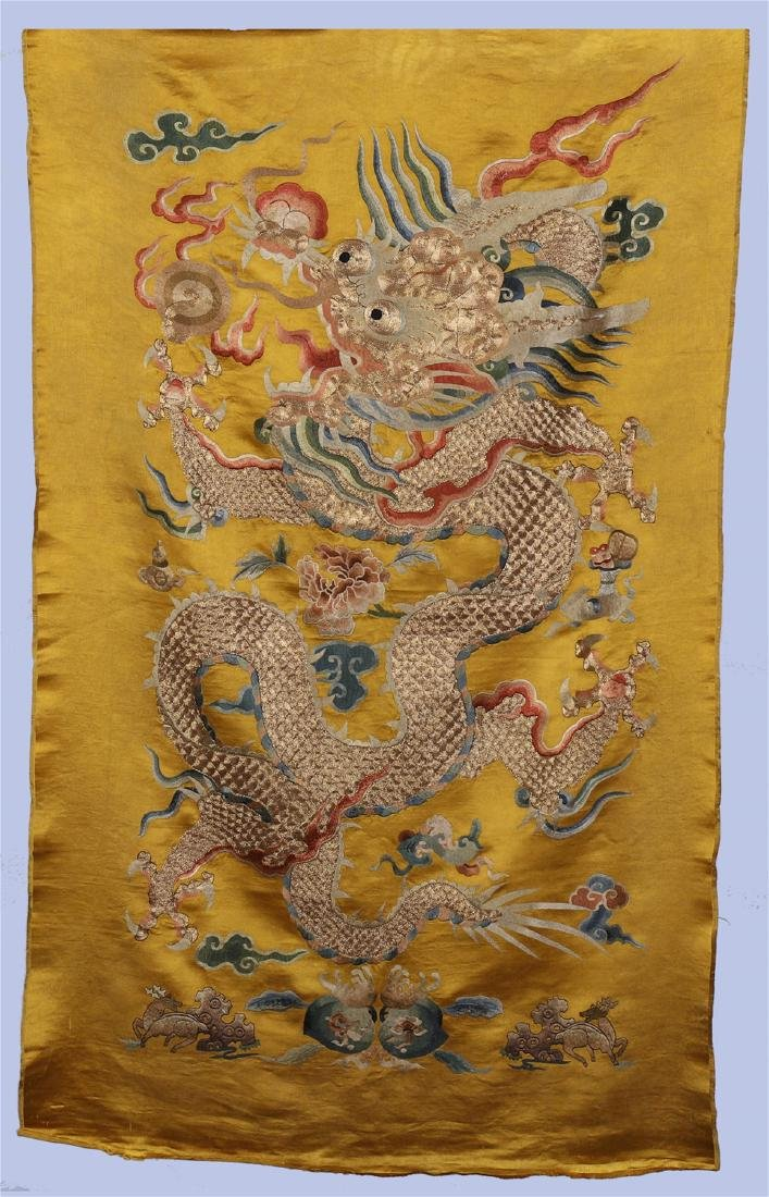 A Chinese Yellow Ground Dragon Silk Embroidery