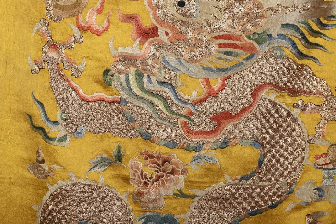 A Chinese Yellow Ground Dragon Silk Embroidery - 3