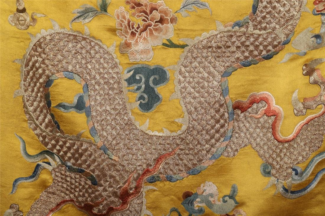 A Chinese Yellow Ground Dragon Silk Embroidery - 4