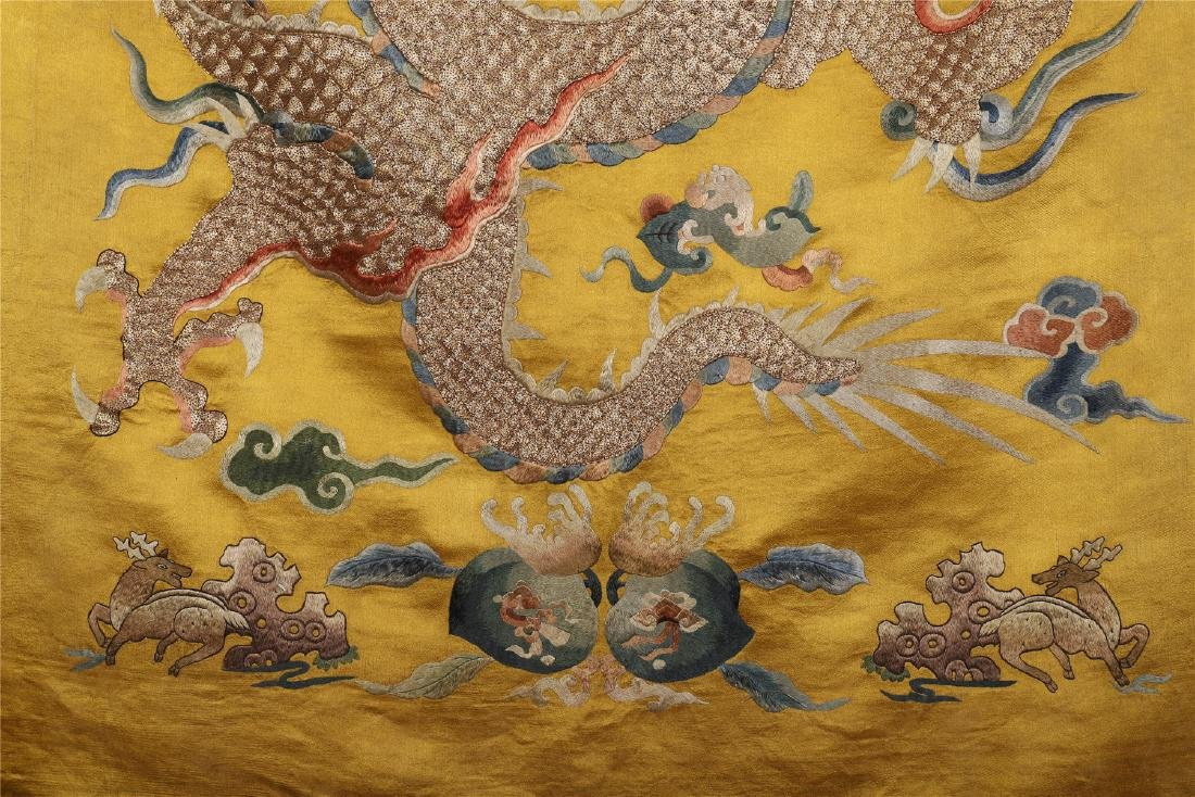 A Chinese Yellow Ground Dragon Silk Embroidery - 5