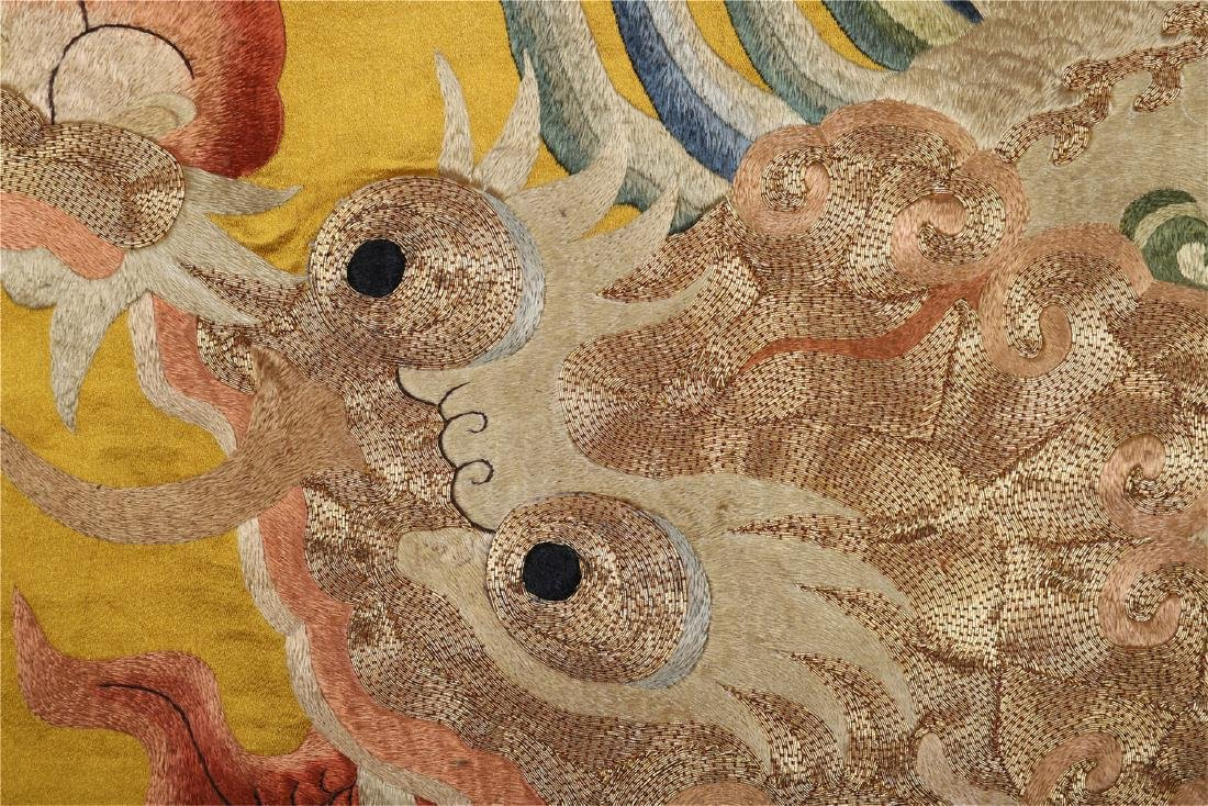 A Chinese Yellow Ground Dragon Silk Embroidery - 6
