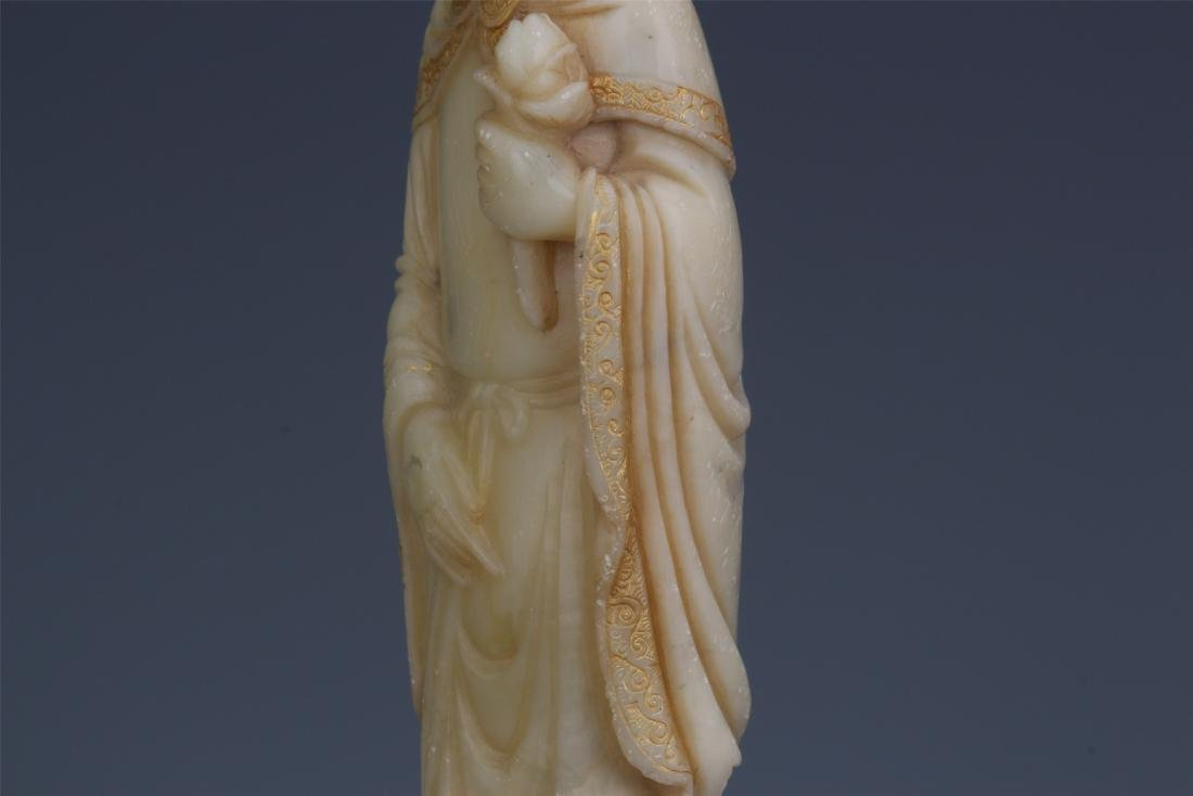A Chinese Carved Soapstone Lady Figure - 10