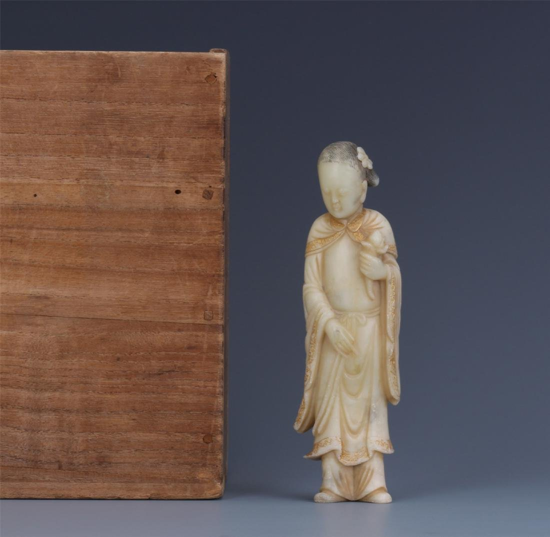 A Chinese Carved Soapstone Lady Figure