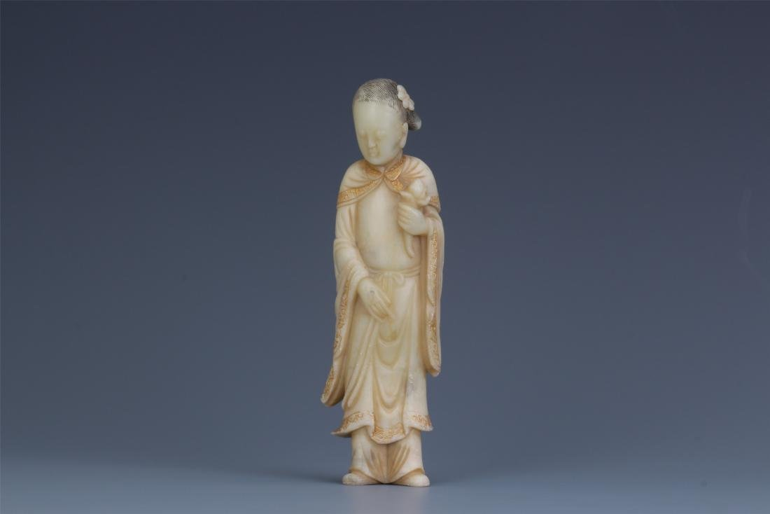 A Chinese Carved Soapstone Lady Figure - 2