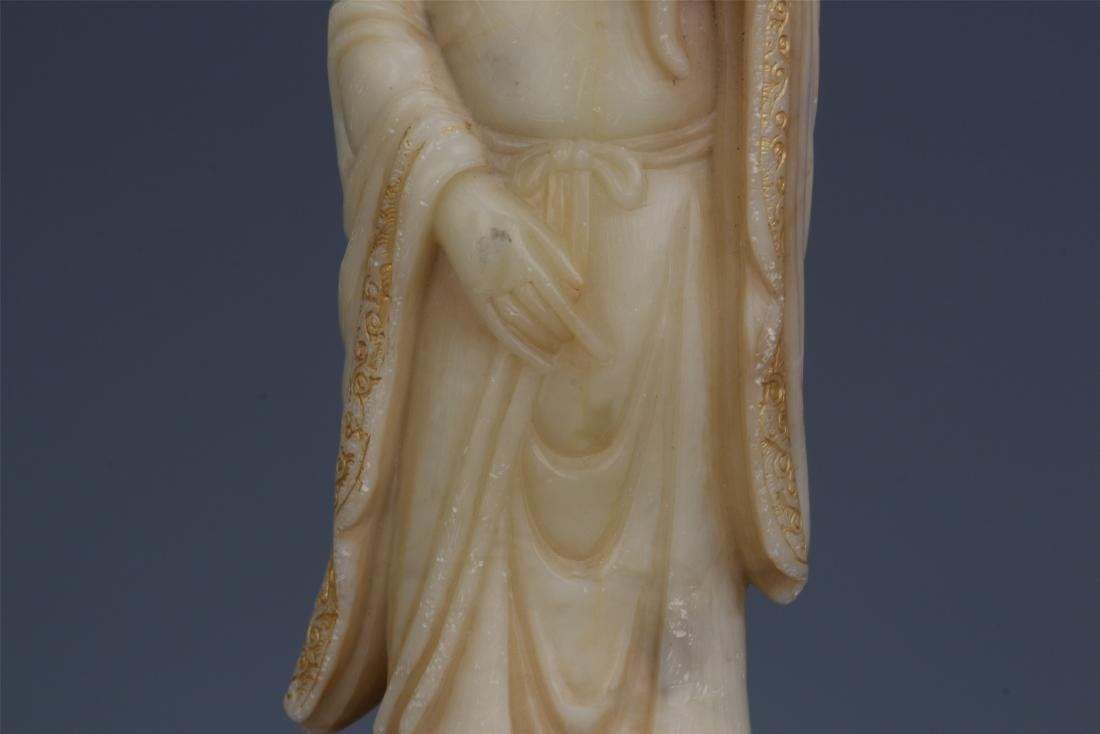 A Chinese Carved Soapstone Lady Figure - 4