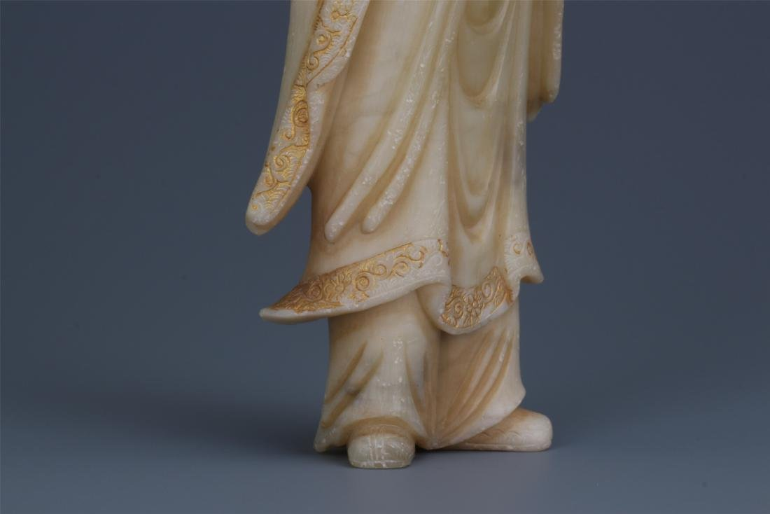 A Chinese Carved Soapstone Lady Figure - 7