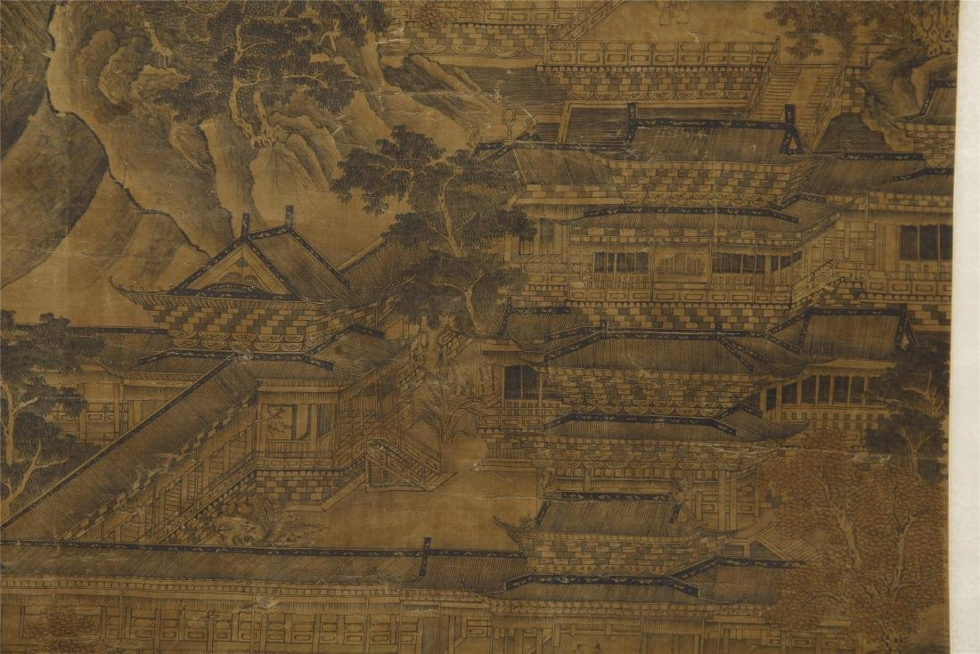 A Chinese Silk Scroll Painting of Landsape by Guo - 10