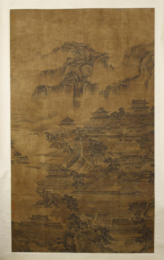 A Chinese Silk Scroll Painting of Landsape by Guo
