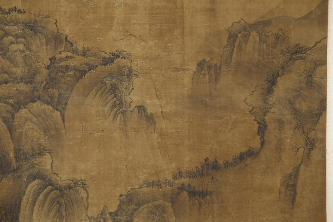 A Chinese Silk Scroll Painting of Landsape by Guo - 6