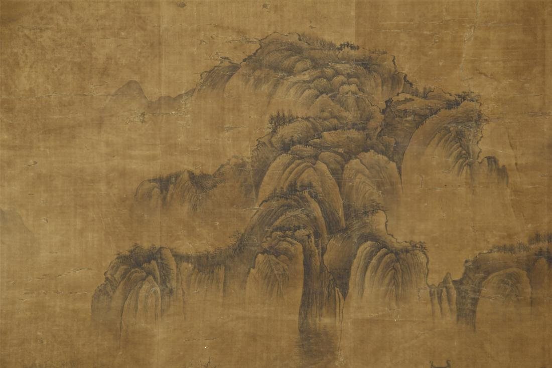 A Chinese Silk Scroll Painting of Landsape by Guo - 7