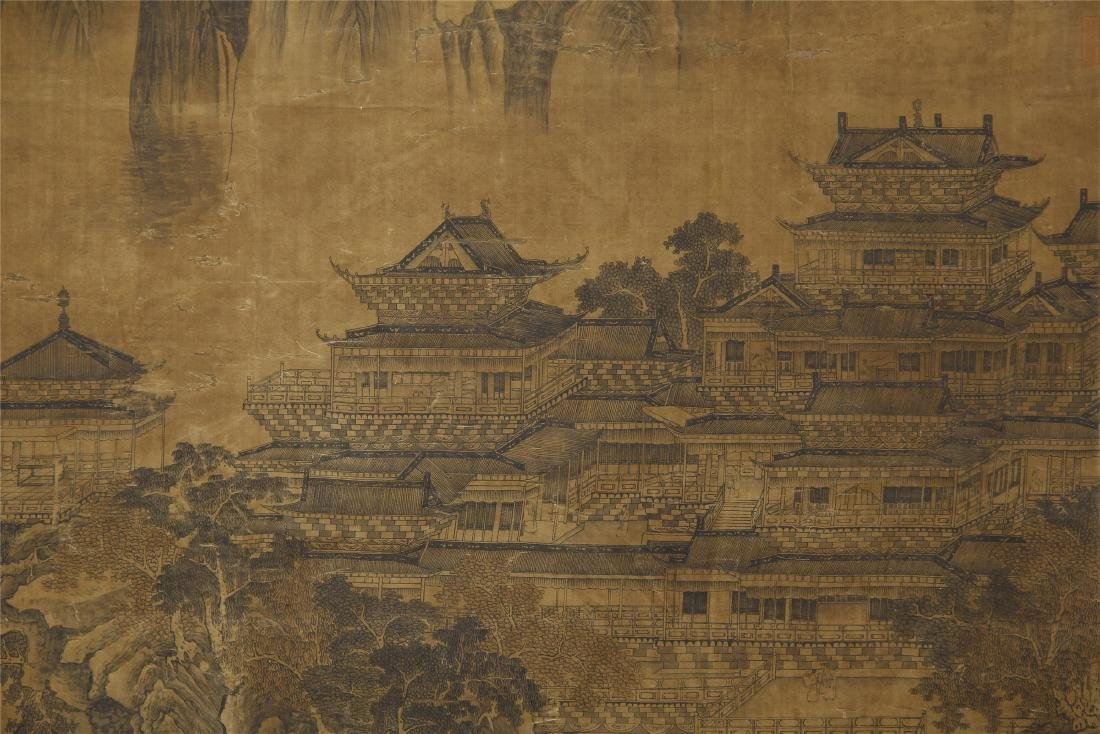 A Chinese Silk Scroll Painting of Landsape by Guo - 9