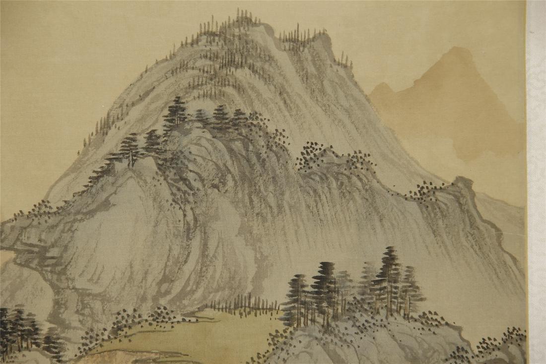 A  Chinese Silk Scroll Painting of Landsape by Pu Ru - 3