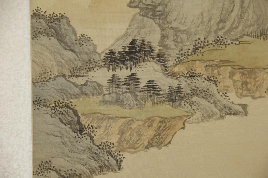 A  Chinese Silk Scroll Painting of Landsape by Pu Ru - 4