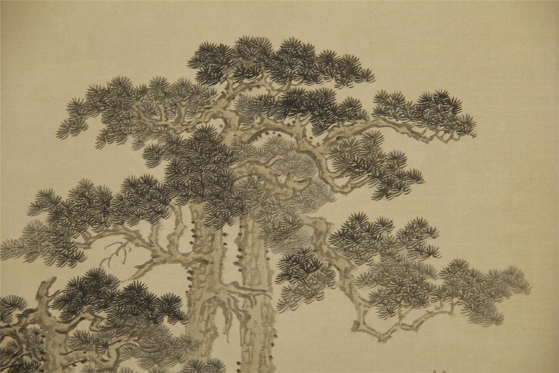 A  Chinese Silk Scroll Painting of Landsape by Pu Ru - 5