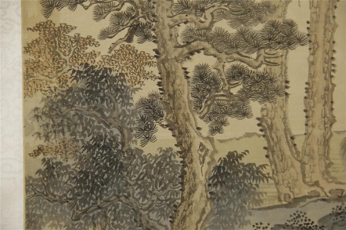 A  Chinese Silk Scroll Painting of Landsape by Pu Ru - 6